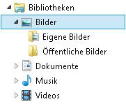 Datei-Explorer mit der Bildbibliothek und einem zusätzlich hinzugefügten Ordner