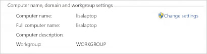 Computer name, domain and workgroup settings