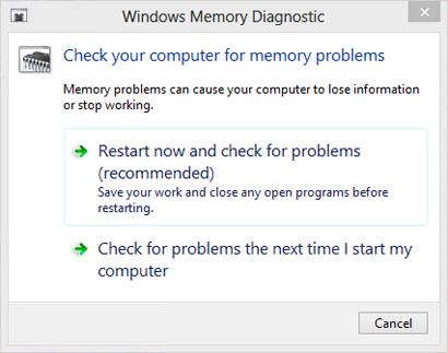 The Memory Diagnostics Tool dialog box